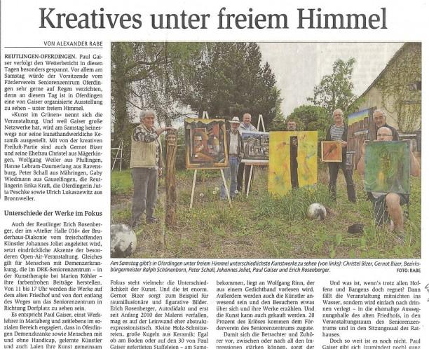 GEA - Reutlinger Generalanzeiger über Kunst im Grünen 2012