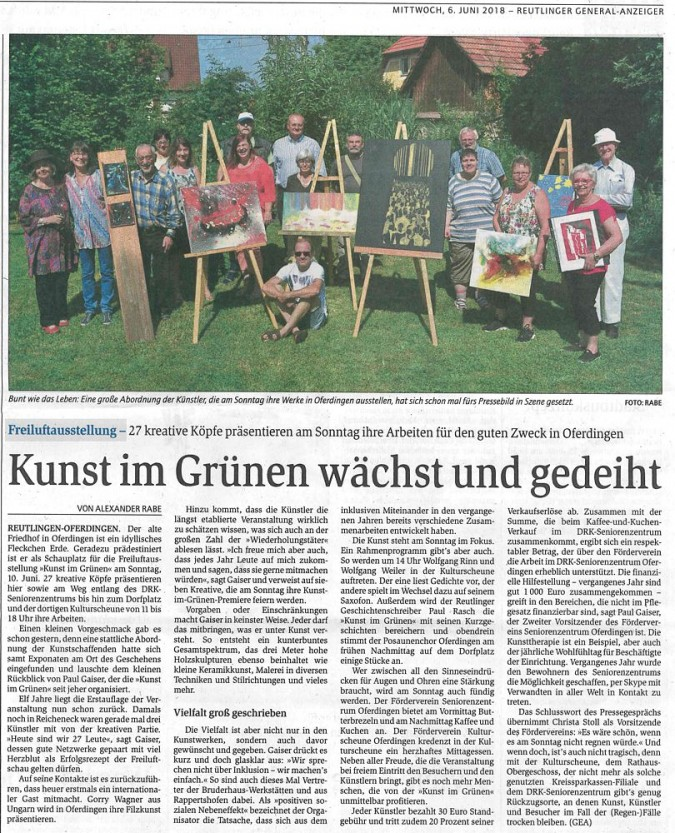 Vorberichterstattung über KUNST IM GRÜNEN im GEA - Reutlinger Generalanzeiger vom 06.06.2018