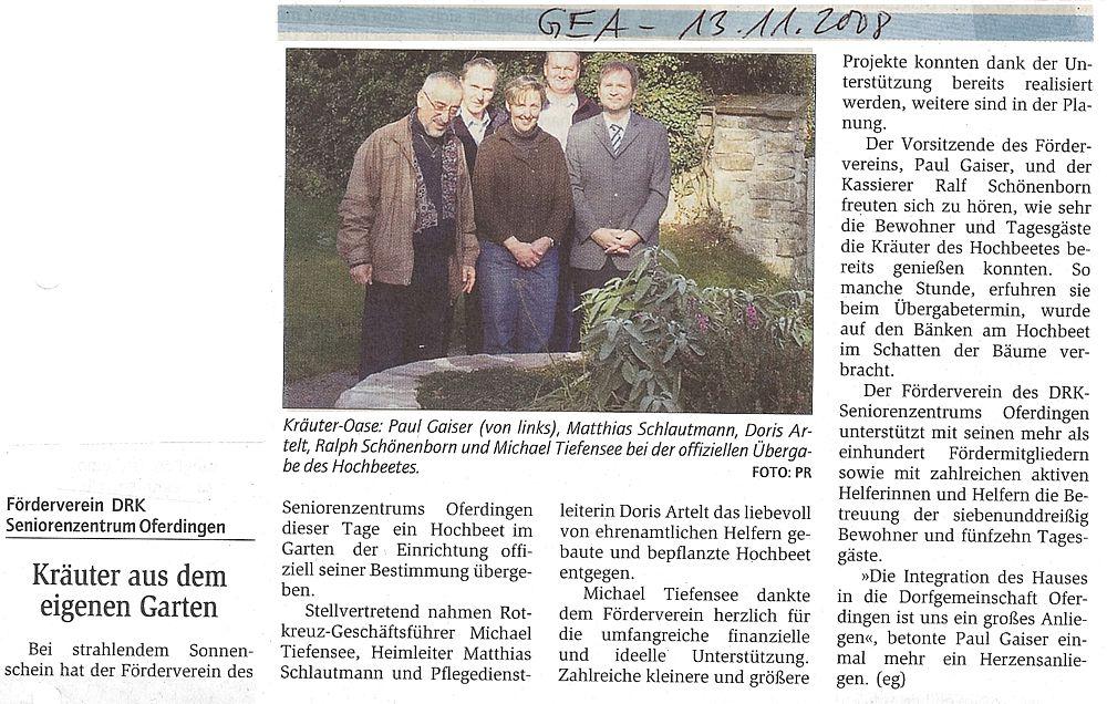 Bergabe des hochbeets an das seniorenzentrum - Reutlinger generalanzeiger wohnungsanzeigen ...